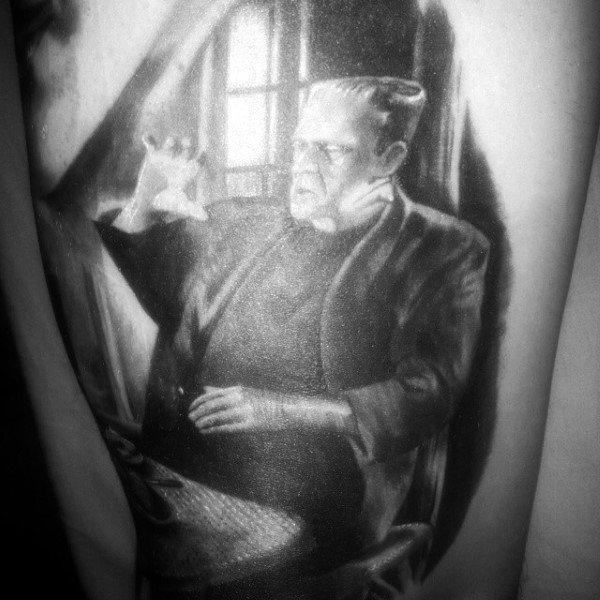 Frankenstein With Hand Raised Mens Arm Tattoos