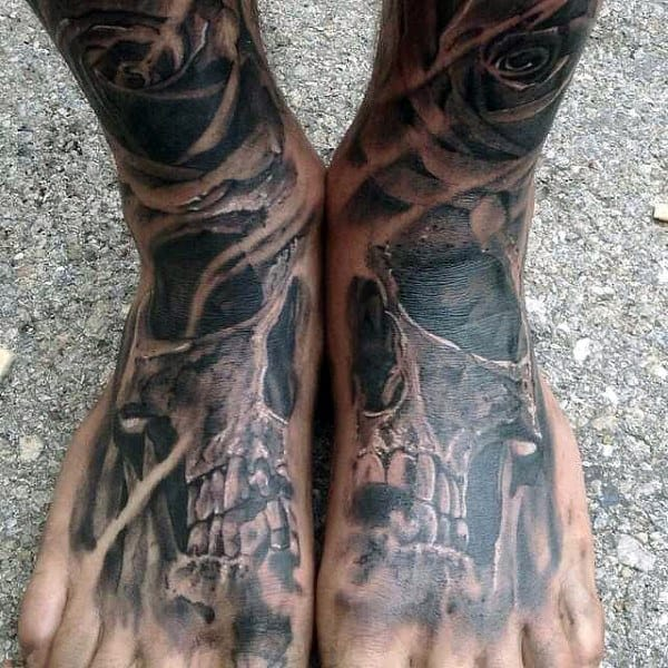 Freakish Skull And Rose Tattoo On Foot For Men