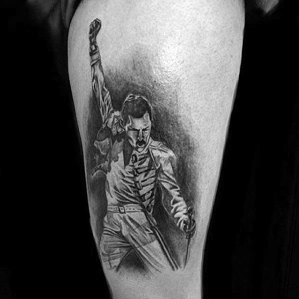 Freddie Mercury Guys Tattoos On Thigh