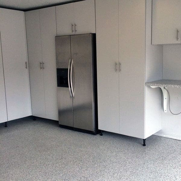 Fridge With White Cabinets Storage Ideas For Garage