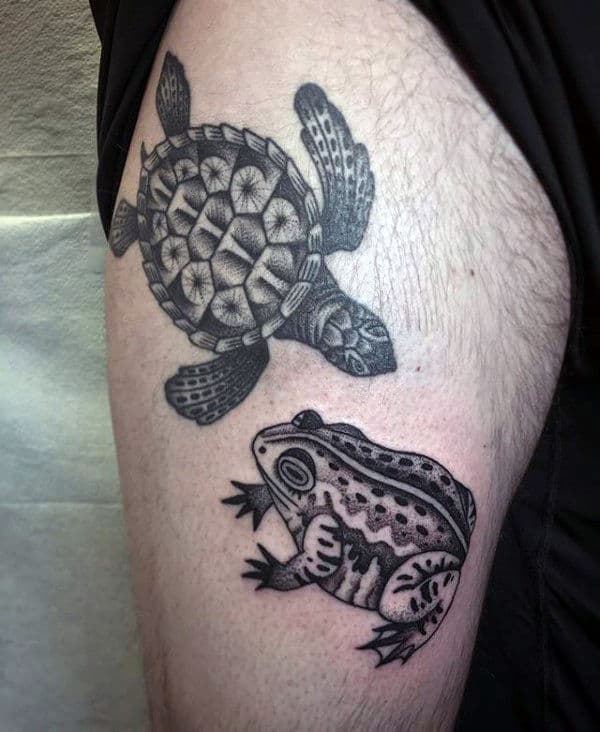 Frog And Turtle Mens Thigh Tattoo