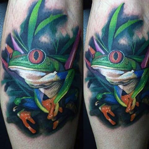Frog In Leaves Mens Cool Tattoo Ideas