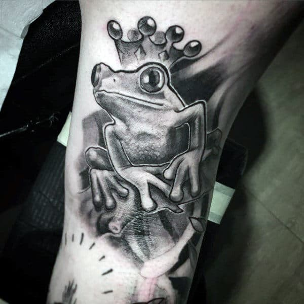 Frog With Crown Mens Shaded Arm Tattoos