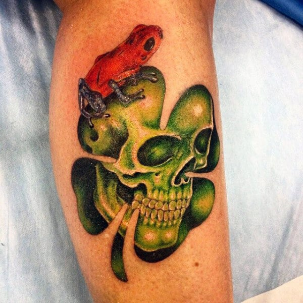 Frog With Skull Inside Four Leaf Clover Mens Tattoo Ideas