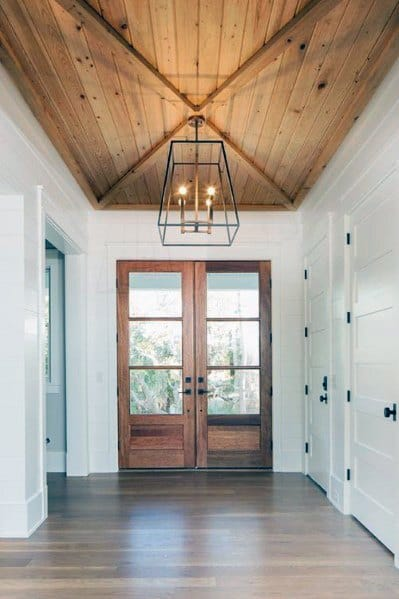 Front Doors Foyer Wood Ceiling Ideas
