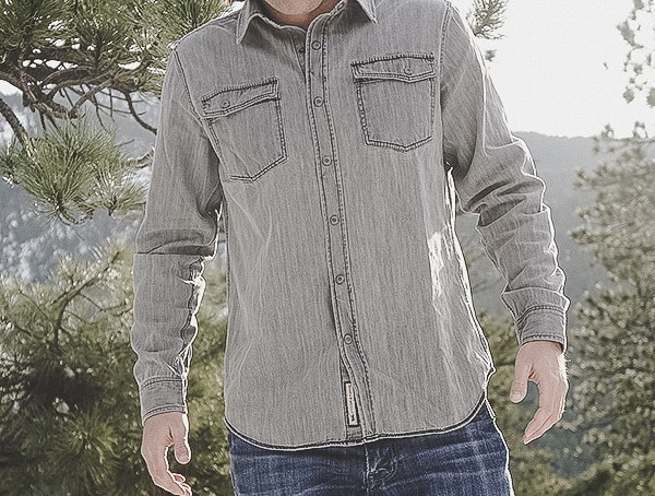 Front Guys Dakota Grizzly Gray Ryder Vintage Wash Rope Dyed Denim Shirt