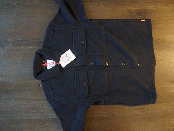 Front Navy And Red Topo Designs Wool Shirt For Men