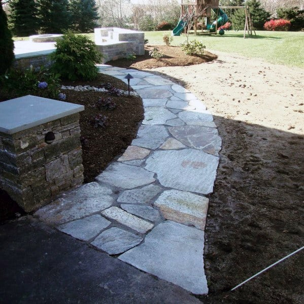 Front Of Home Design Ideas Flagstone Walkway
