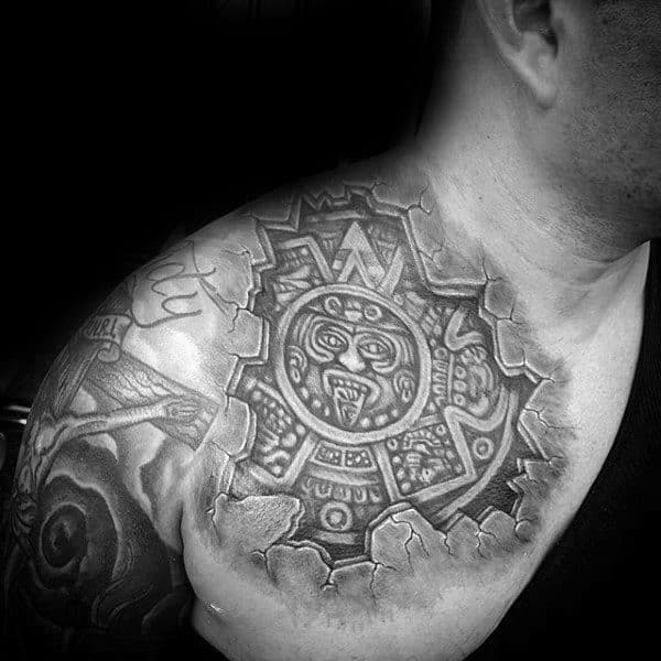 Front Shoulder Mayan 3d Stone Sun Mens Tattoos