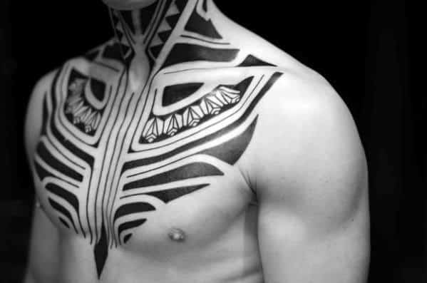 Front Tribal Neck Tattoo Designs For Guys