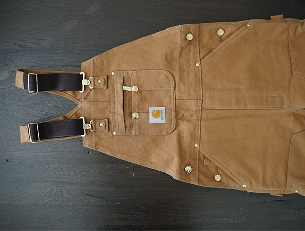 Front View Carhartt Quilt Lined Zip To Thigh Bib Overalls For Men