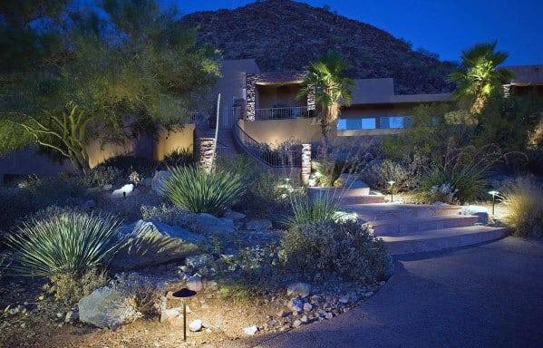 Front Yard Desert Landscaping Lighting Ideas