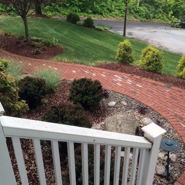 Front Yard Designs Red Brick Walkway