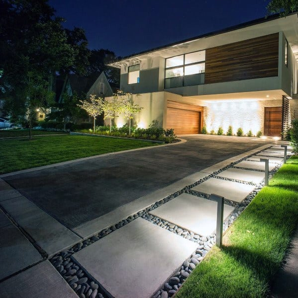 Front Yard Driveway Contemporary Designs For Stepping Stone