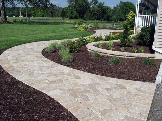 Front Yard Driveway Exterior Ideas Paver Walkway