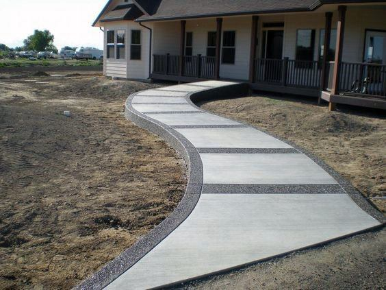Front Yard Exterior Ideas Concrete Walkway