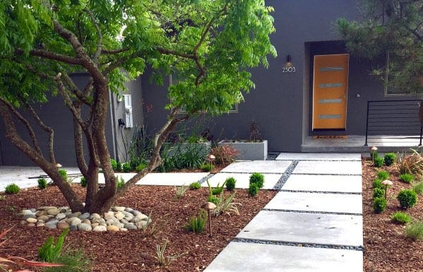 Front Yard Ideas Concrete Walkway Exterior Design