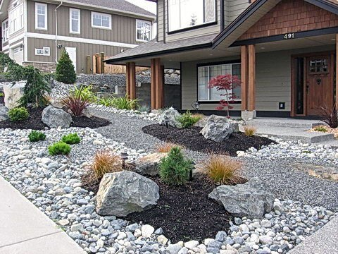 Top 50 Best River Rock Landscaping Ideas - Hardscape Designs on Backyard Rocks  id=18495