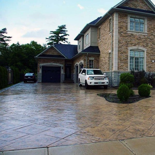 Front Yard Ideas Stamped Pattern Concrete Driveway