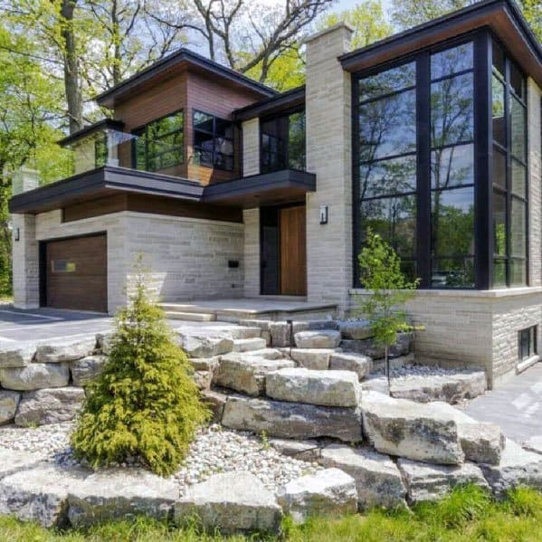 Front Yard Landscape Ideas Inspiration With Rock Boulders