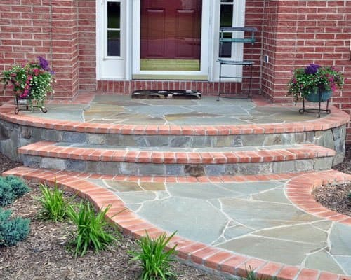 Front Yard Porch Steps Brick Walkway Design Idea Inspiration