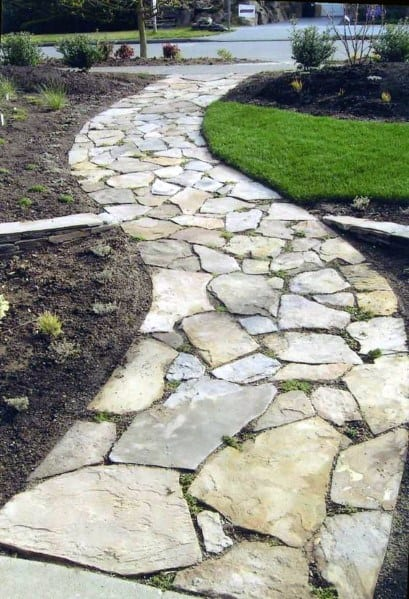 Front Yard Stone Walkway Home Landscaping Ideas