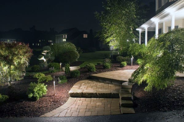 Front Yard Walkway Landscaping Lighting Ideas