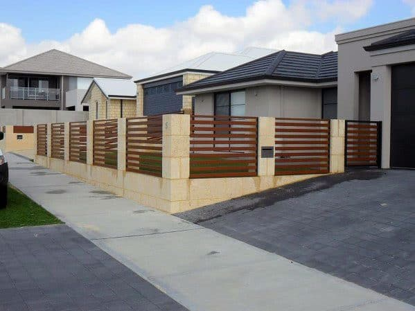 Front Yard Wood And Stone Designs Modern Fence