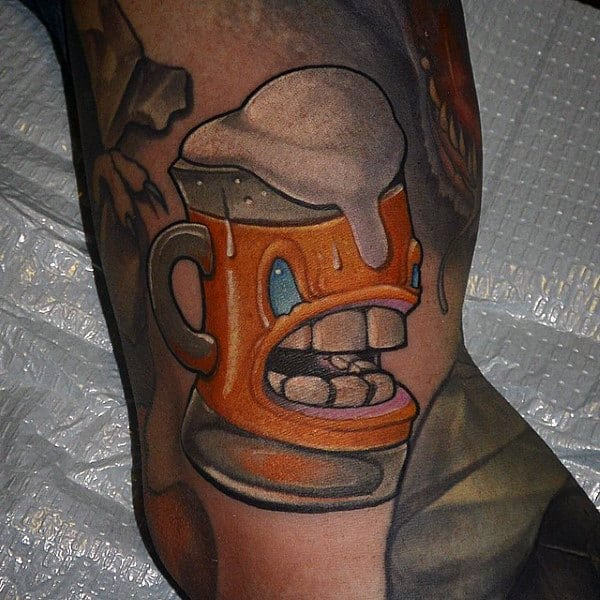 Frothing Beer Mug Tattoo Male Arms New School