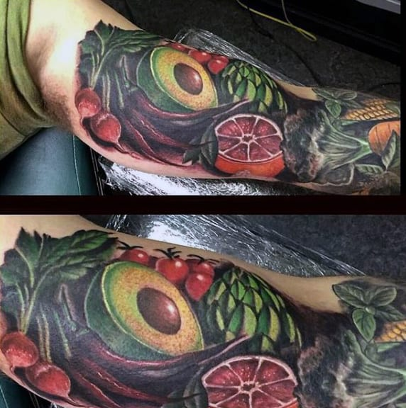 Fruits And Vegtables Mens Sleeve Amazing Tattoo Ideas
