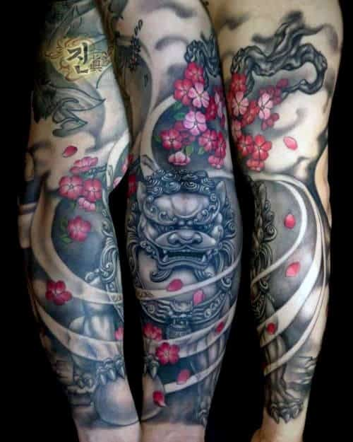 Fu Dog Cherry Blossom Male Sleeve Tattoo Ideas