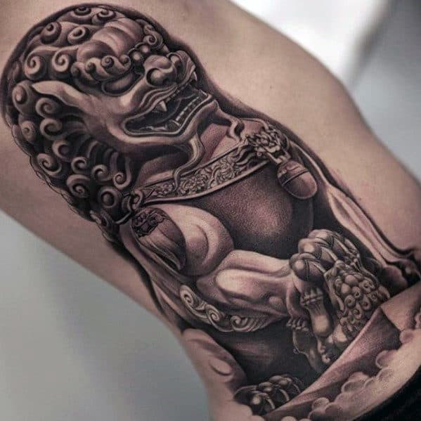 Fu Dog Guys Different 3d Rib Cage Side Tattoo Designs