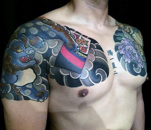 Fu Dog Japanese Mens Chest And Quarter Sleeve Tattoos
