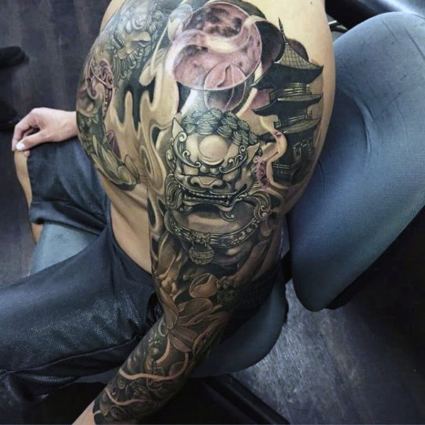 Fu Dog Japanese Temple Mens Full Arm Sleeve Tattoo Designs