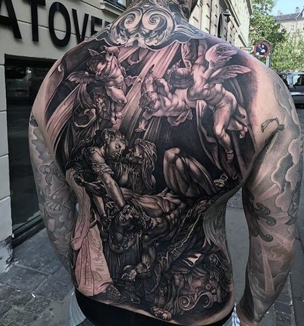 Full 3d Angels Awesome Back Tattoo Ideas For Males