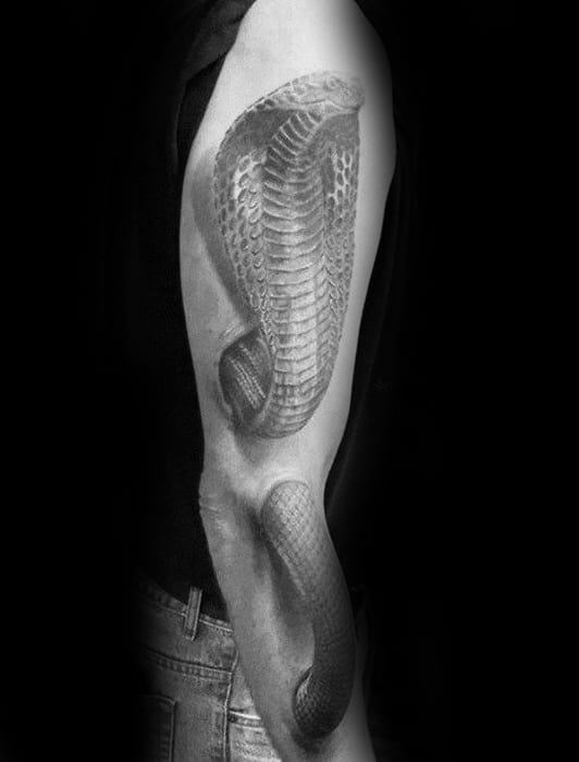Full Arm 3d Snake Mens Tattoo Design Ideas