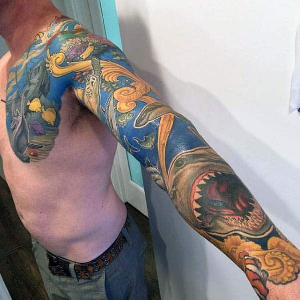 Men Chest And Upper Sleeve With Nice Flowers Tattoo: 40 Ocean Sleeve Tattoos For Men