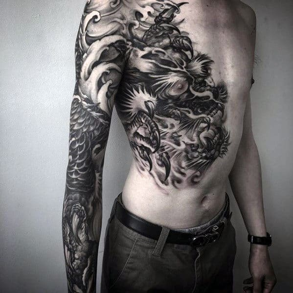 Full Arm And Half Chest Male Shaded Dragon Chest Tattoos