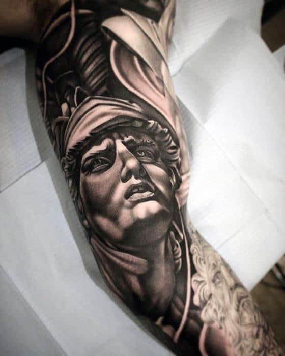 Full Arm Artistic Male Roman Statue Tattoo Ideas