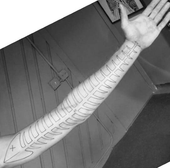 Full Arm Black Ink Outline Dead Fish Skeleton Mens Tattoos