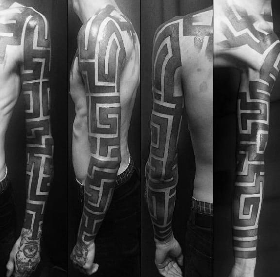 Full Arm Blackwork Negative Space Sleeve Cool Male Maze Tattoo Designs