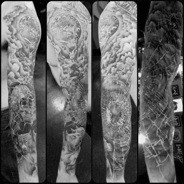 Full Arm Broken Glass Tattoo Designs For Guys