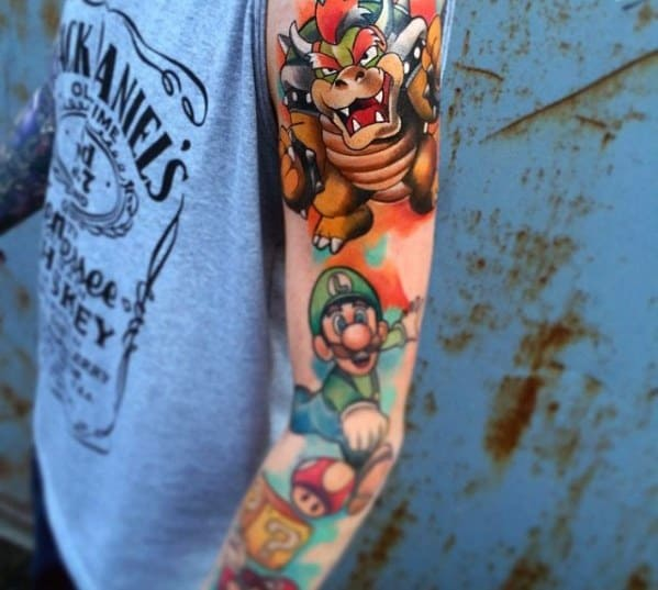 Full Arm Excellent Guys Bowser Tattoos