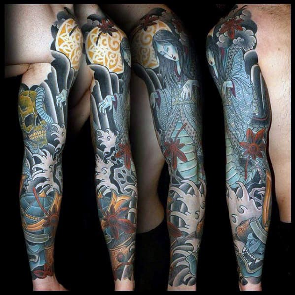 Full Arm Guys Japanese Wave With Skull Tattoo Designs