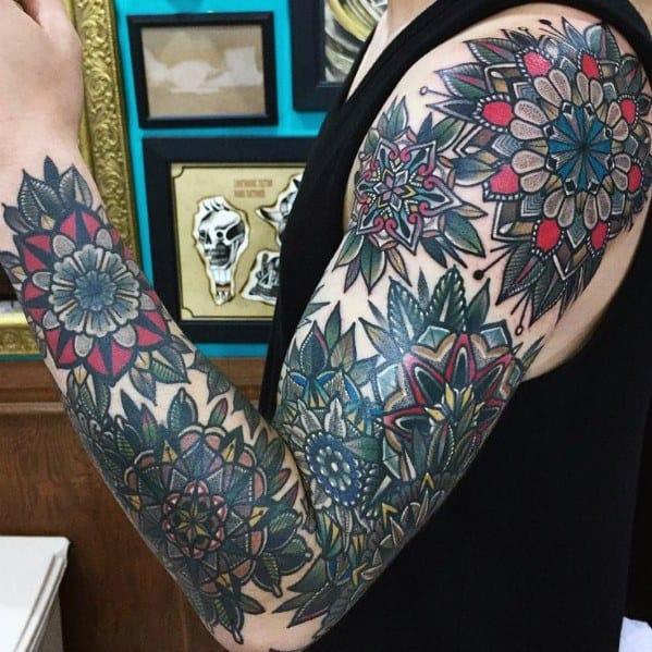 Full Arm Guys Mandala Flower Tattoos
