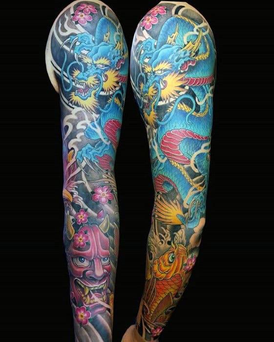 Full Arm Japanese Blue Dragon Male Tattoo Designs