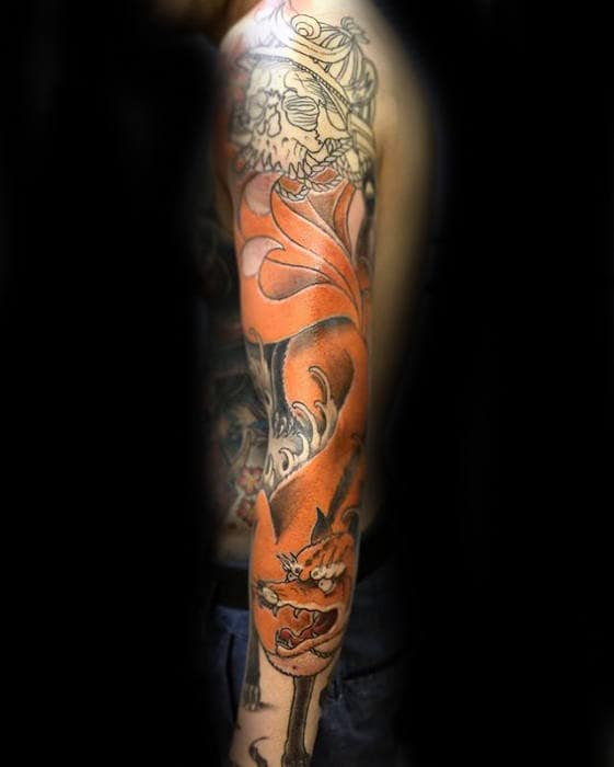 Full Arm Kitsune Fox Male Tattoo Design Ideas