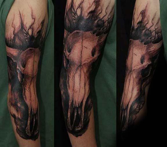 Full Arm Male Bull Skull Tattoos