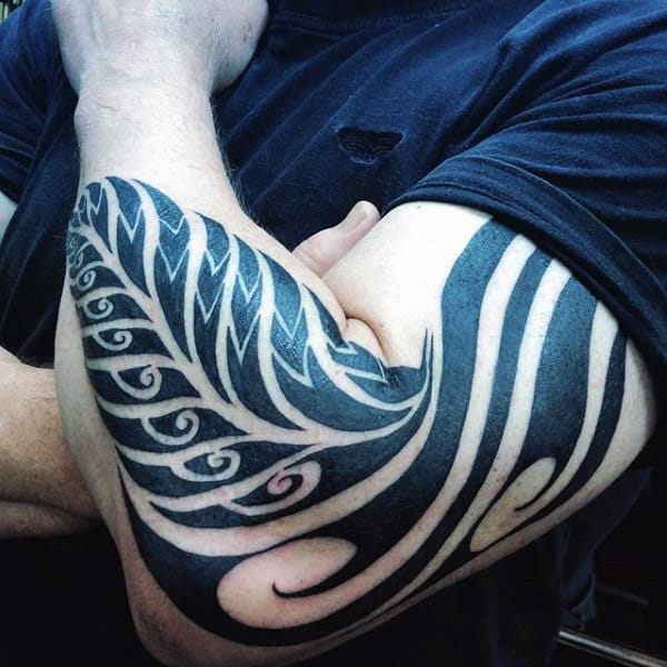 Full Arm Male Fern Tribal Black Ink Tattoo Designs