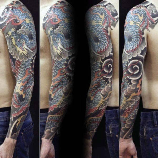 Full Arm Male Japanese Dragon Tattoos